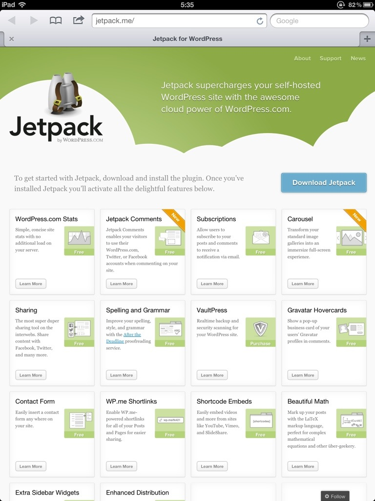 Jetpack website screenshot