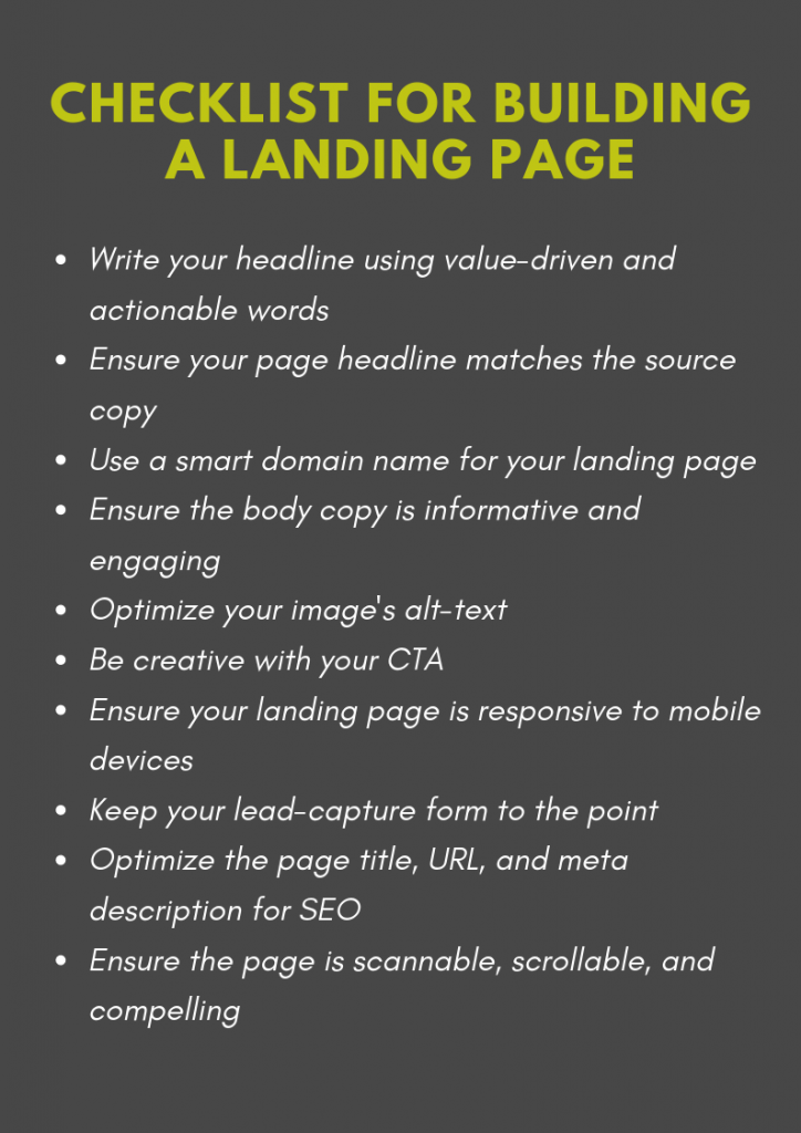 Checklist for Building a Landing Page